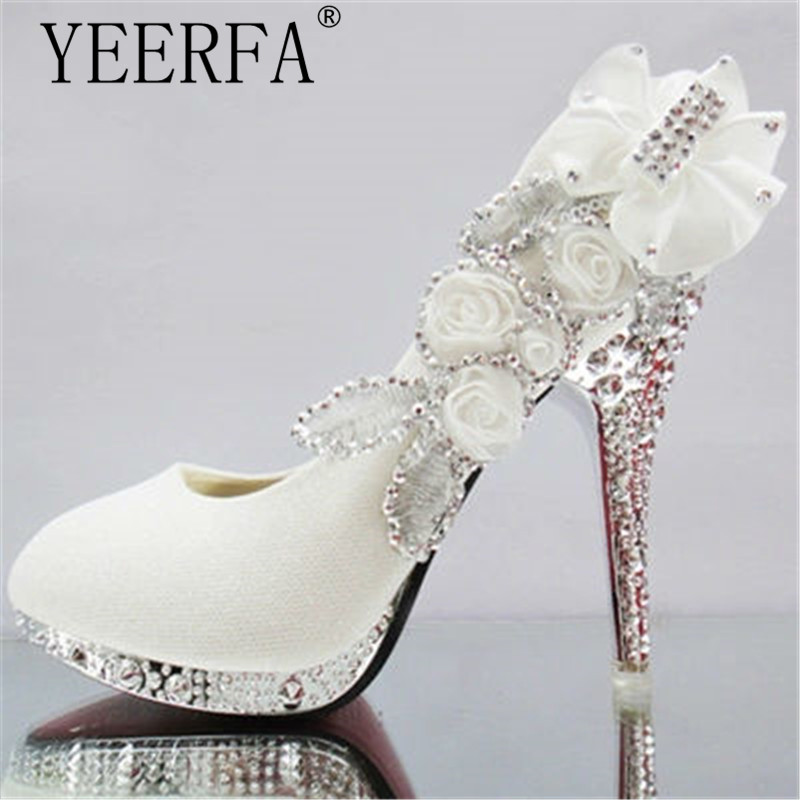 YIERFA  women high heels prom wedding shoes lady crystal platforms silver Glitter rhinestone bridal shoes thin heel party pump free shipping sparkly silver crystal and rhinestone high heels with spikes ultra high heels shoes for wedding party prom