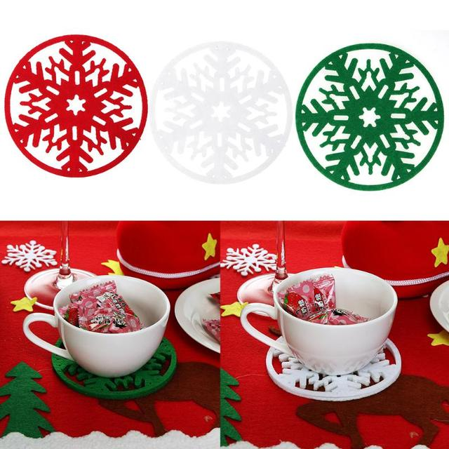 Attractive 10Pcs/lot Christmas Snowflakes Cup Mat Pad Dinner Party Drinking Coasters  Table Dish Bowl Pad