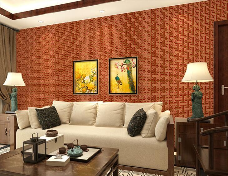 Papier peint 3D en relief profond en PVC Style chinois Texture papel parede Vintage élégant hôtel décor papier peint Mural papier peint rouleau