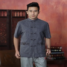 2017 New Arrival Drak Gray Men's Linen Shirt Top Chinese Novelty Kung Fu Tang Suit With Porket Free Shipping M L XL XXL XXXL