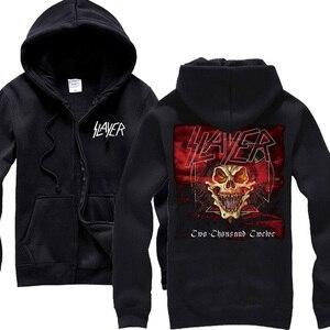 Image 5 - Sudaderas con capucha de algodón Slayer de 30 diseños, chaqueta de concha punk de metal pesado con cremallera, sudadera de forro polar, prendas de exterior con calaveras