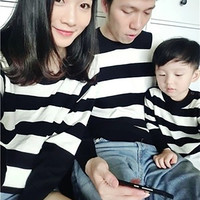 Xmas Striped Family Matching Outfits Adult Kid Black White Striped Knit Sweater Pjs Prop Clothing Christmas Family Set