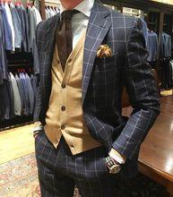 Black plaid Cloth Men Suit /Notch Lapel One Button Men Suits Prom/Bridegroom Suits/Weddding Suit For Men(Jacket+pant)