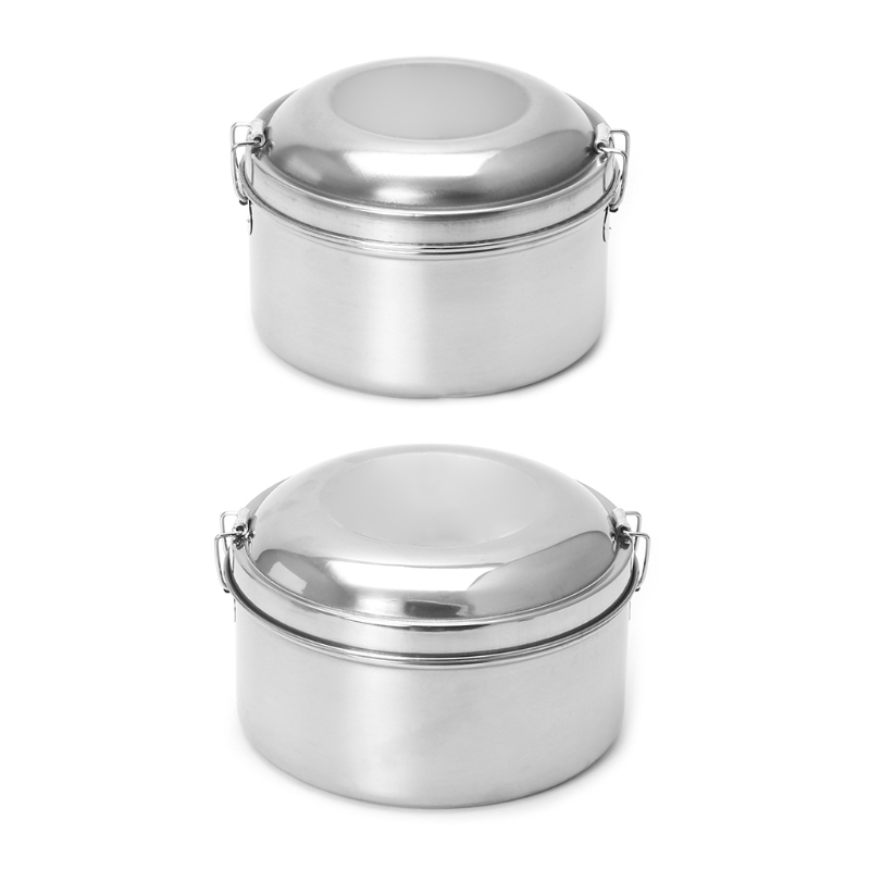 Stainless Steel Lunch Box Food Container 2 Tier Round Shape Bento School Picnic