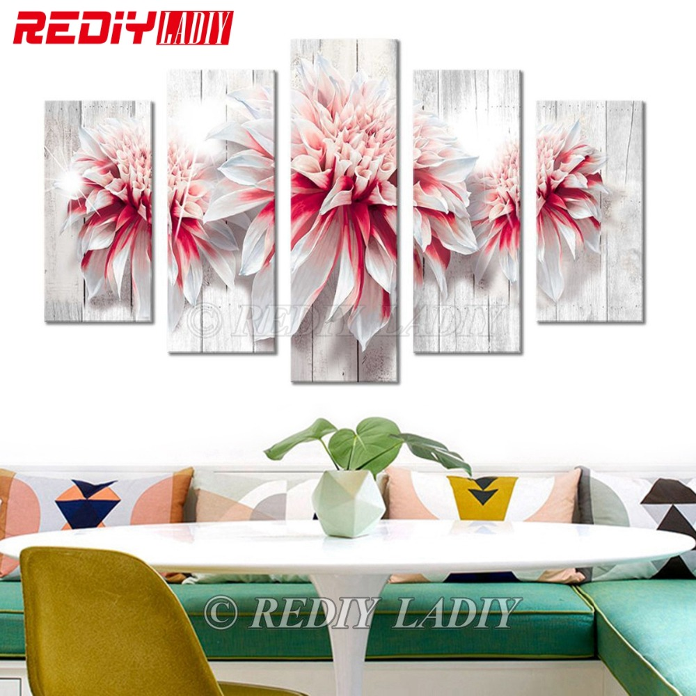 REDIY LADIY Diamond Painting Triptych Square Diamond Embroidery Crystal Mosaic Modular Picture Flower Wood Home Decor