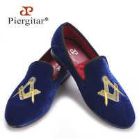 Piergitar 絶妙な刺繍パターン男性のビロードの靴ファッションウェディングパーティーや宴会ローファー男性フラッツサイズ米国 4-17