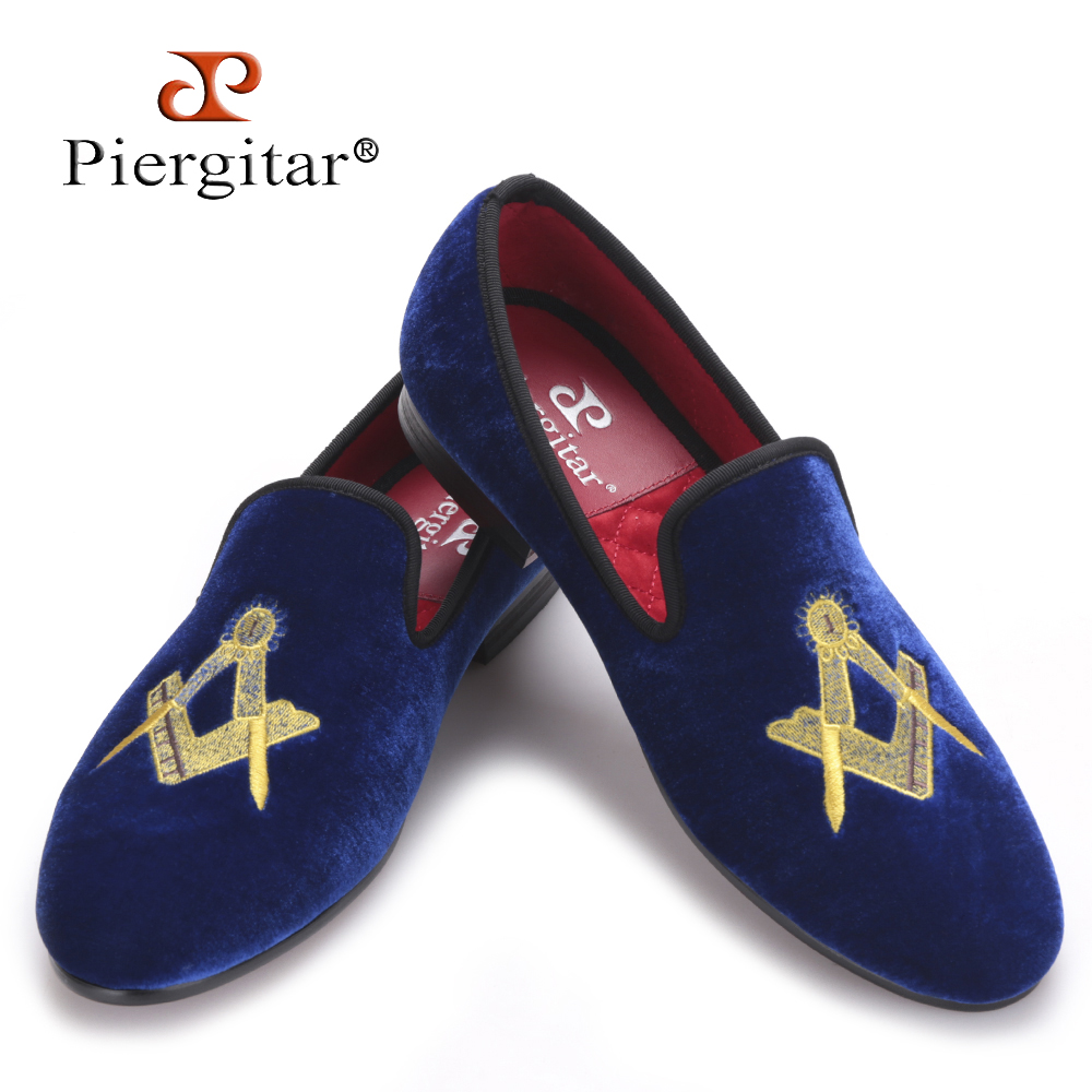Piergitar Exquisite embroidery pattern Men Velvet shoes Fashion Wedding Party and Banquet Loafers Men Flats Size US 4-17 men loafers paint and rivet design simple eye catching is your good choice in party time wedding and party shoes men flats