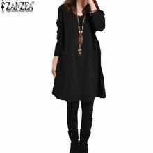 Zanzea 2016 Autumn Winter Women Long Sleeve Pocket Dress Solid O Neck Casual Loose Dresses Vestidos Plus Size S-5XL
