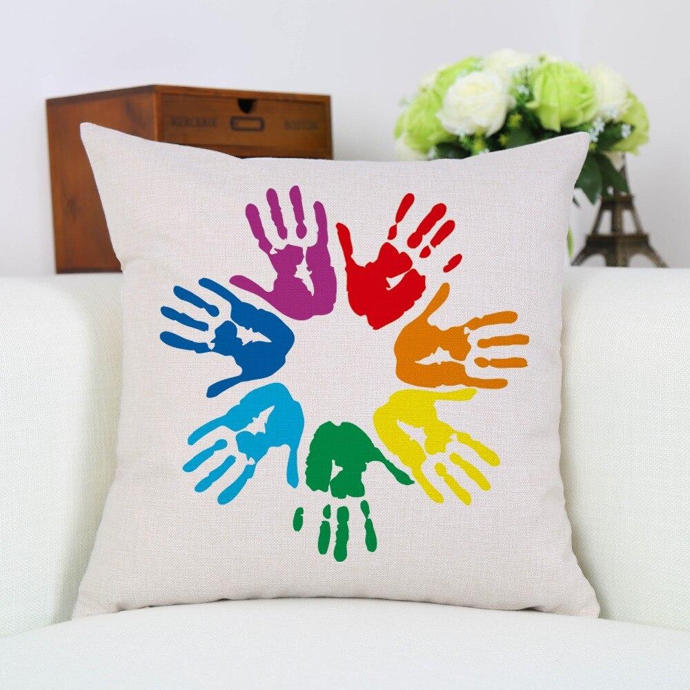 45 * 45cm Cizgi 7 Rənglər Palm Həndəsi Yastığı Örtüklü - Ev tekstil - Fotoqrafiya 1