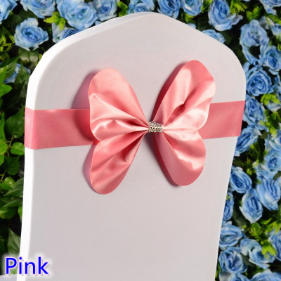 Pink colour chair sash wedding mini style butterfly bow tie lycra band stretch bow tie ribbon for chair covers on sale