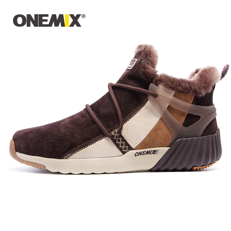 ONEMIX Winter Men s Boots Warm Wool Sneakers Outdoor Unisex Athletic Sport Shoes Comfortable Running Shoes