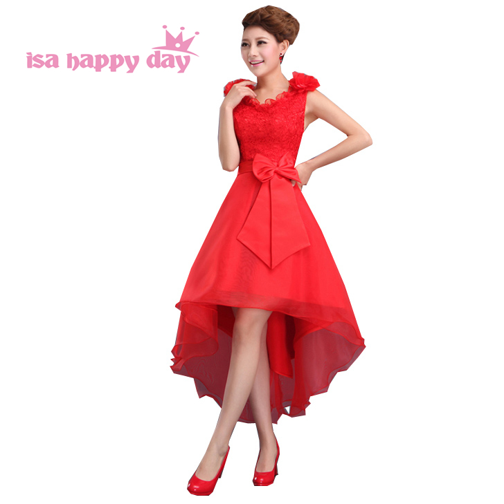 special occasion v neck   bridesmaid     dresses   knee length short elegant red lace beautiful gown women   dress   xxxl high low B2019