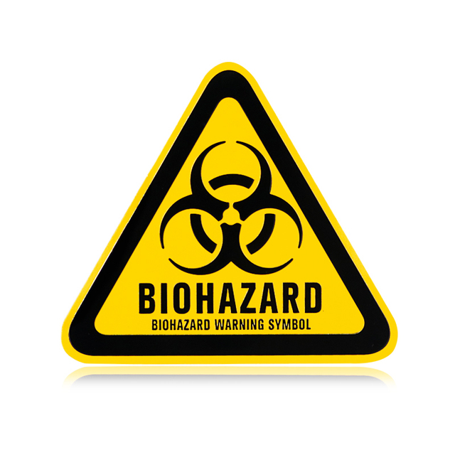 Biohazard warning symbol black yellow triangle thin aluminium emblem sticker car styling resident evil danger caution