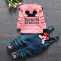 Children girl suit children clothing sets 2016 spring new long-sleeved suit cartoon Mickey denim overalls suit