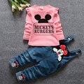 Muchacha de los niños traje de ropa de niños sets 2016 nueva primavera de manga larga traje de la historieta de Mickey traje de overol de mezclilla