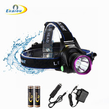 2000LM LED Headlamp CREE XML T6 3 Modes Rechargeable Headlight Head Lamp Spotlight For Hunting+Charger(US EU)+2X18650battery dwz black 2000lm xml t6 led rechargeable head lamp front bicycle cycling headlight