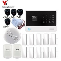 YobangSecurity Android IOS APP WI FI GSM Home Security Alarm System Touch Screen Smoke Alarm Detector Door/PIR Alarm Sensor