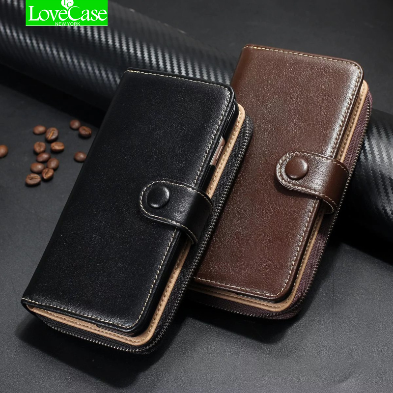 Luxury Zipper 100% genuine leather Handbag Wallet Phone Case for iPhone 7 X 6s Plus 8 Plus Flip Cover purse Phone Bags case