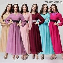 Womens Newest Kaftan Abaya Islamic Muslim Dress Decorated Lace Empire Waist O-Neck Long Sleeve Ankle-Length Elegant Casual Dress