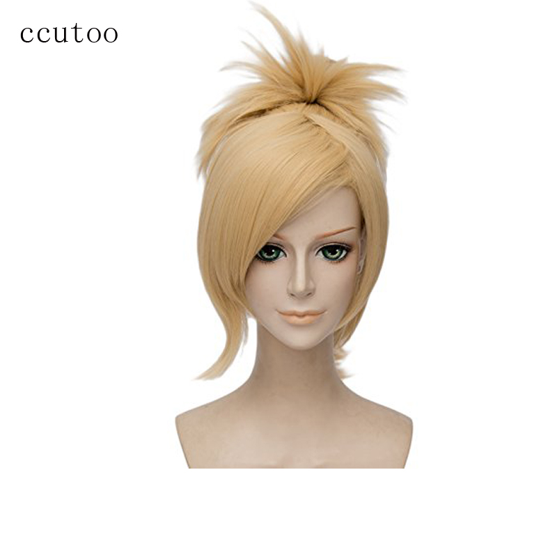 ccutoo 35cm Blonde Game OW Overwatch Mercy Synthetic Hair Heat Resistance Cosplay Full Wigs With Chip Ponytail