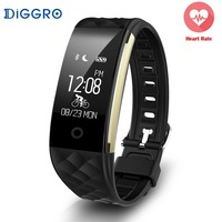 Diggro S2 IP67 Wristband Bracelet Smart Heart Rate Monitor Fitness Tracker Touchpad OLED Strap In Stock