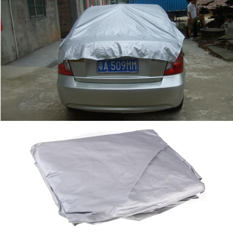 Image 4 - Universal Car Covers Prevent Heat Cold Snow Rain Sun Dust Half Car Cover PVC Coating Waterproof Dustproof UV Outdoor Size M/XL-in Car Covers from Automobiles & Motorcycles