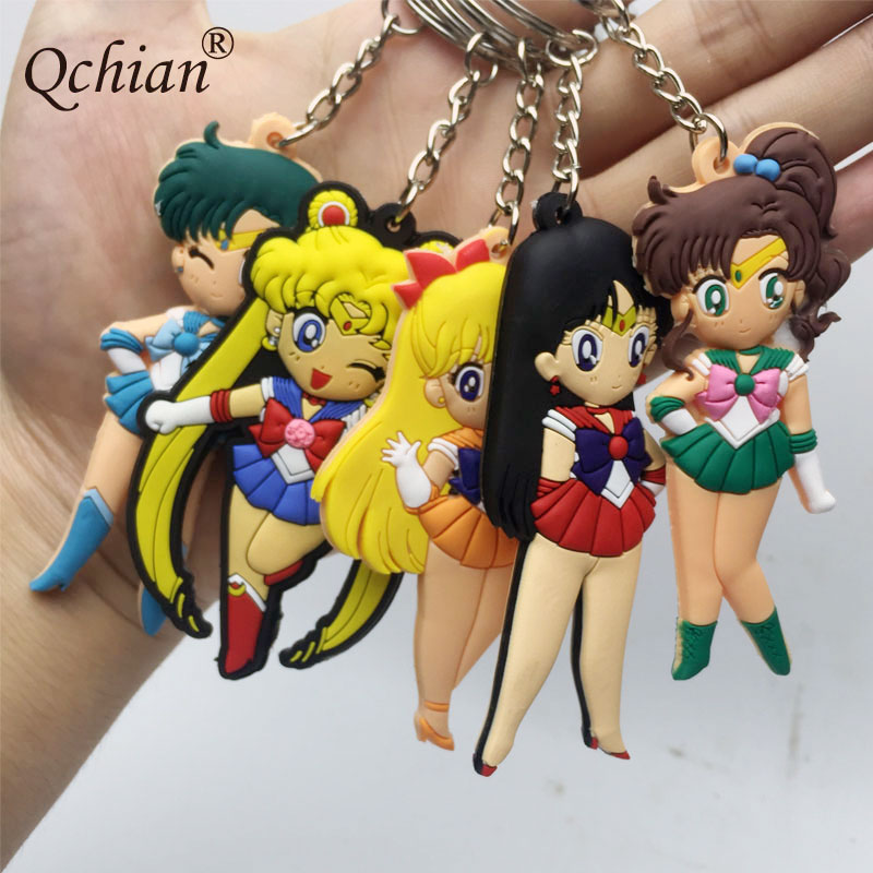 Cartoon Anime Sailor Moon Key Chains Japanese Comic Silicone Mars Jupiter Venus Mercury Keychain PVC Figures Toys for Women