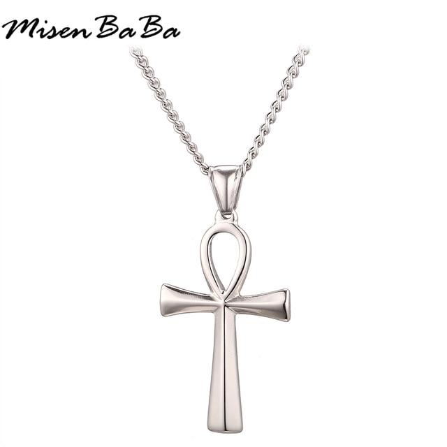 826d17c4eaed Místico egipcio ANKH Cruz colgante collar para hombre plata oro negro Color  acero inoxidable Cruz collar