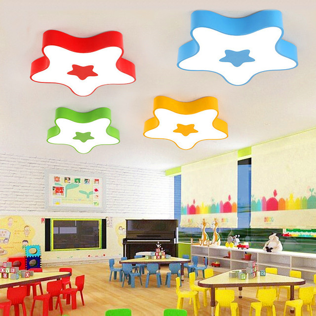 Children S Room Lamp Bedroom Led Ceiling Warm Color Five Corners Star Nursery Kindergarten