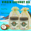 2*295ml 10oz Free shipping virgin coconut oil cold press edible cooking oil food grade pure extract base carrier oil for skin
