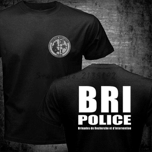 Tops & Tees T-shirts France French Special Elite Police Forces T-shirt Unit Gign Raid Bri T Shirt Man Black Tee Men 100% Cotton Short Sleeve Tops