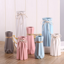 The Origam Antique Ceramic Vase Modern White Pink Blue Grey Vase Artificial Flower Table Small Vase Wedding Decoration Vases G $