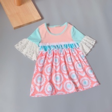 coralline flower princess dress geometry Ruffle Baby Girls Dress Flare Sleeve for present недорого