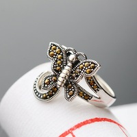 Ecoworld Ge Silver Wholesale 925 Sterling Silver Marcasite Butterfly Ring Inlaid Silver Ring Nvjie Vintage Silver