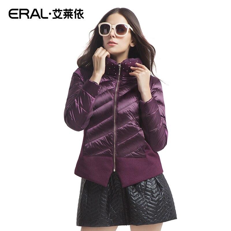 ERAL 2016 Winter Womens Slim Rivet Wool Patchwork Stand Collar Down Jacket Coat ERAL2022D