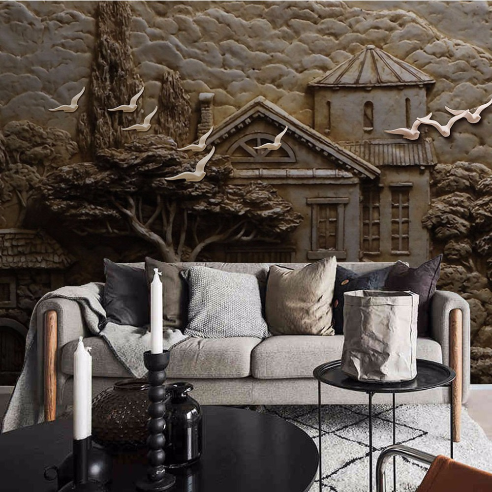 8D Large Mural Birds Forest House trees Wallpaper Mural for Walls 3d Photo Mural Sofa Backaground 3d Wall Murals 3D Wall paper large blue sky cloud mural 3d ceiling mural wallpaper for walls living room hall 3d wall ceiling murals 3d wall paper sticker