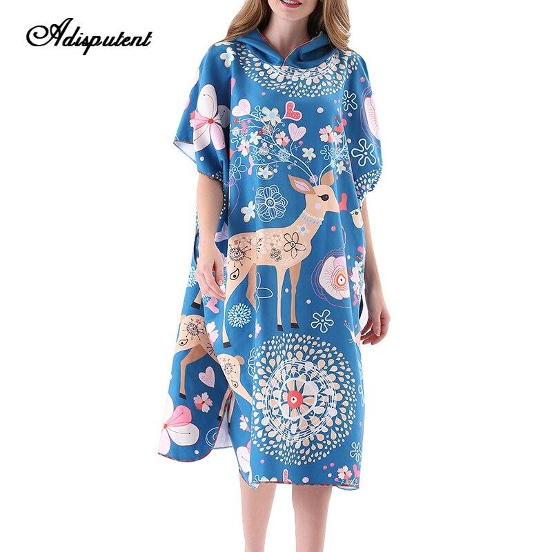Adisputent femmes peignoirs imprimer léger bain Robe tricot peignoir pyjama doux coupe-vent Hoodies cape plage Robe 2019