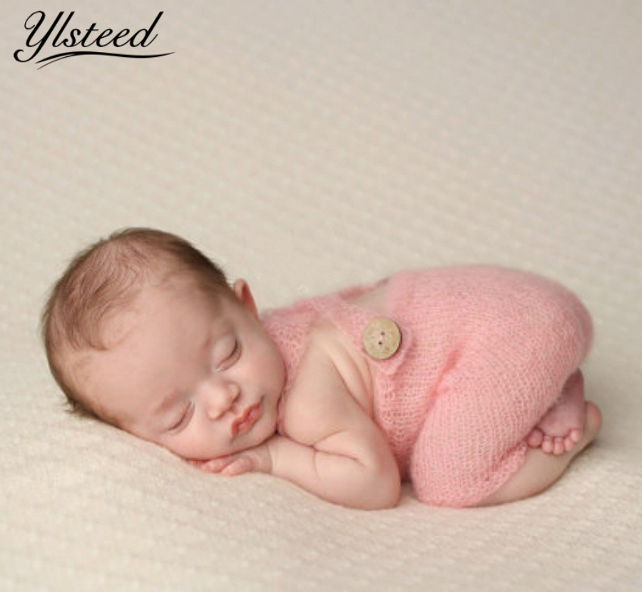 Newborn Photography Props Crochet Wood Button Overalls Pants Infant Photo Outfits Vintage Baby Photo Shoot Props Picture Props christmas cute crochet knit costume prop outfits photo photography baby ear hat photo props new born baby girls cute outfits