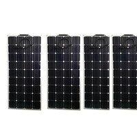 유연한 태양 전지 패널 100w 12v 4Pcs Zonnepanelen 400w 태양 전지 충전기 보트 자동차 해양 요트 캐러밴 캠핑 방수