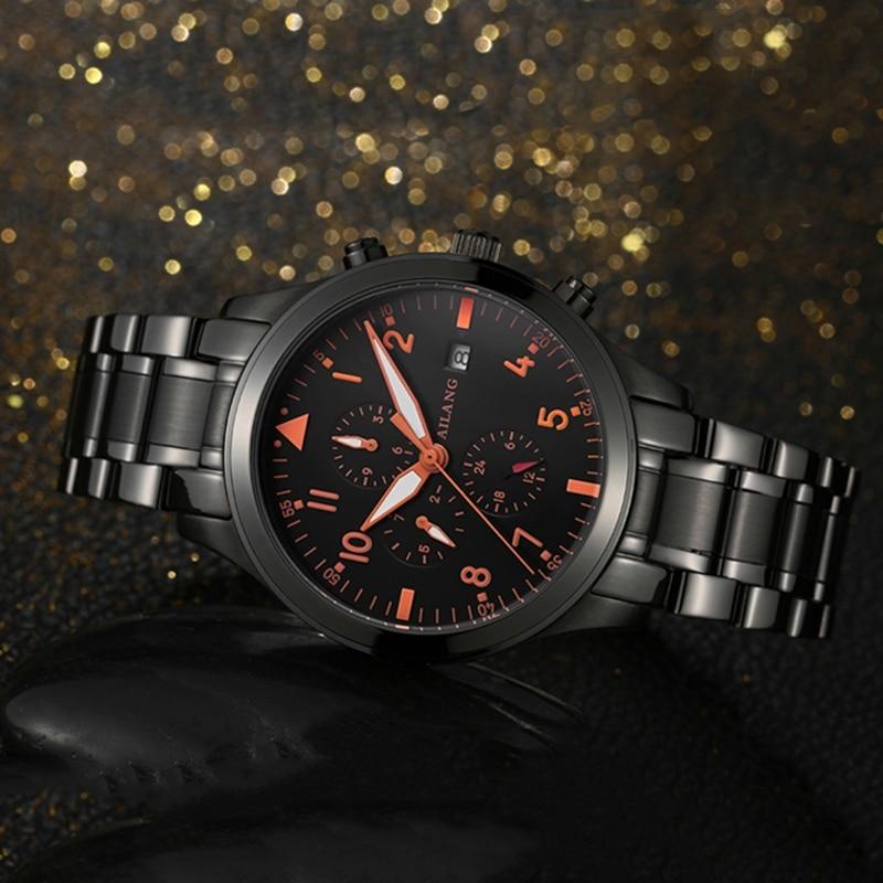 Forever Young Orange hommes décontracté montres automatique montre à remontage automatique multi-fonctionnelle calendrier montre-bracelet lumineux réalisable 3 yeux