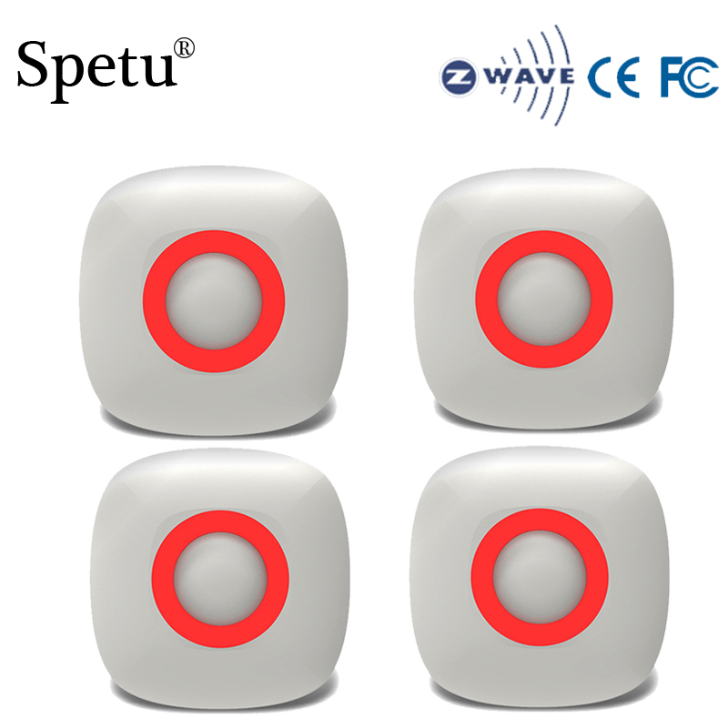 Spetu 4pcs/lot Z Wave Plus Smart Home Infrared Detector Z-wave Wireless Alarm Home Automation Alarm Sensor Battery-Powered