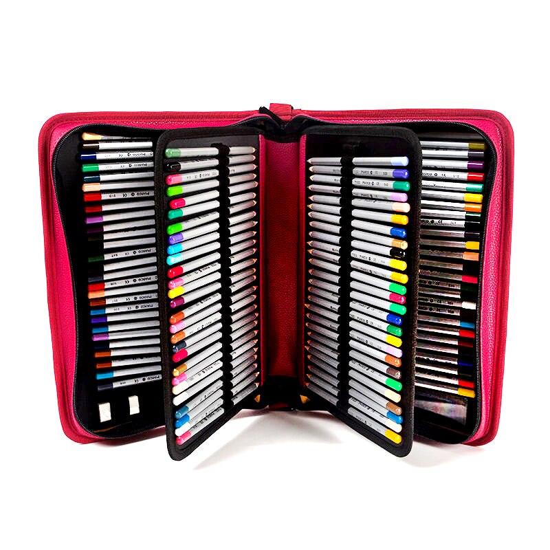 Peinture professionnelle porte-crayon 160 titulaire Portable PU cuir grande capacité sacs de rangement pour crayon de couleur aquarelle brosse
