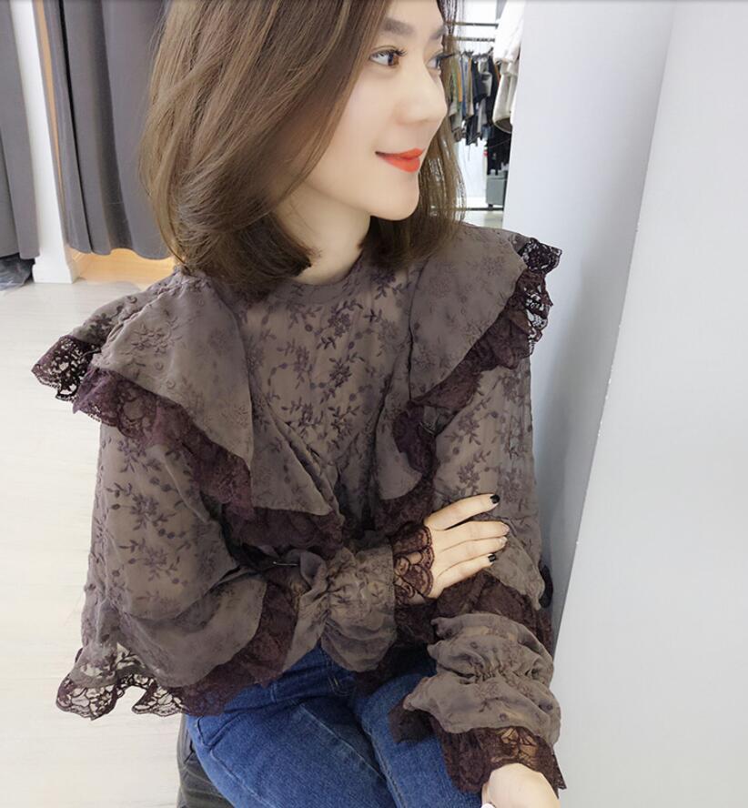 Корейские модные весенние женские 2019 новые гофрированные шифоновые кружевные женские рубашки топы и блузки больших размеров женское платье