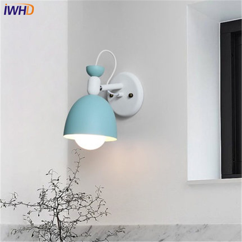 IWHD Nordic Loft Style Modern Wall Sconce Adjust Iron LED Wall Light Fixtures For Study Bedside Wall Lamp Home Lighting in LED Indoor Wall Lamps from Lights Lighting
