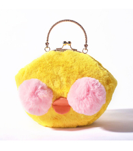 Angelatracy 2018 Yellow Fashion Duck Wool Circular Metal Frame Women rabbit hair Cute Winter Bag Handbag Crossbody Messenger