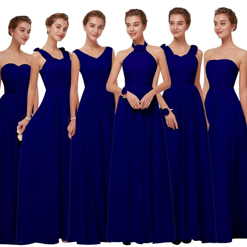 Beauty-Emily Long Chiffon Blush Royal Blue Bridesmaid Dresses 2018 A-Line Vestido De Festa De Casamen Formal Party Prom Dresses
