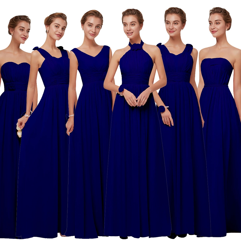 Beauty-Emily Long Chiffon Blush Royal blue   Bridesmaid     Dresses   2018 A-Line Vestido De Festa De Casamen Formal Party Prom   Dresses