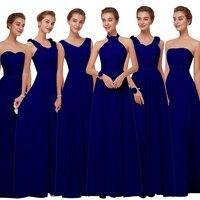 Beauty Emily Long Chiffon Blush Royal blue Bridesmaid Dresses 2018 A Line Vestido De Festa De Casamen Formal Party Prom Dresses