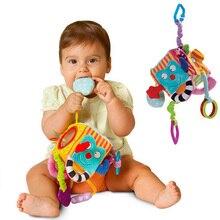 Детская Мобильная игрушка для малышей, плюшевый блок, клатч, волшебный кубик-погремушка, развивающие игрушки для новорожденных детей 0-24 месяцев
