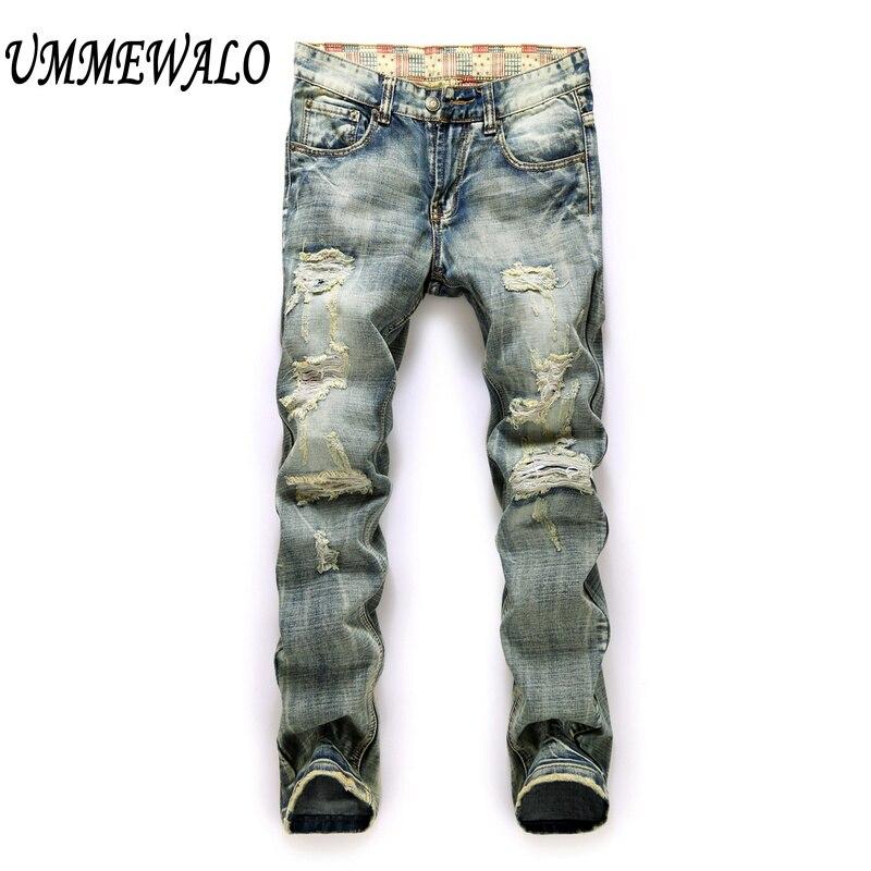 Для мужчин Брендовая Дизайнерская обувь Винтаж отремонтировать проблемных Джинсы для женщин Для мужчин прямые Узкие рваные джинсы в стиле пэчворк Джинсы для женщин